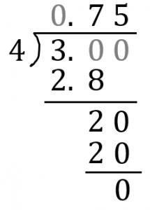 分数を小数に直す例