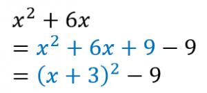 平方完成のやり方の例