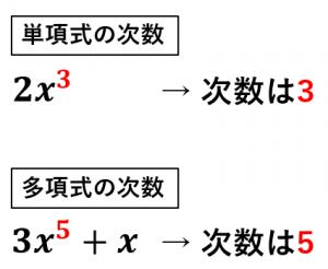 単項式と多項式の次数