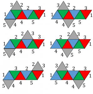 正八面体の展開図で重なる辺その1