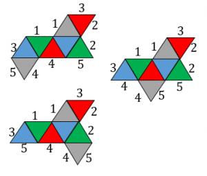 正八面体の展開図で重なる辺その2