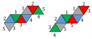 正八面体の展開図で重なる辺その3