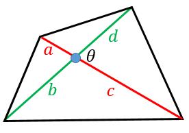 四角形の対角線の長さと面積