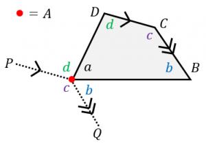 四角形の内角の和の証明