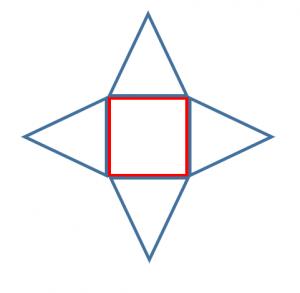 正四角錐の展開図