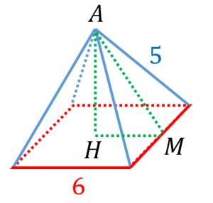 正四角錐の高さと体積