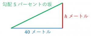 水平距離と高さと斜めの距離の関係
