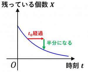 半減期の意味を理解するためのグラフ