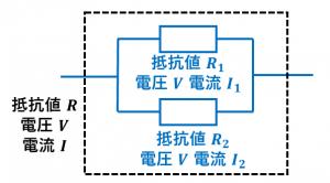 合成抵抗の公式の導出(並列)